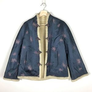 VINTAGE Chinese Faux Fur Shearling Floral Coat - S